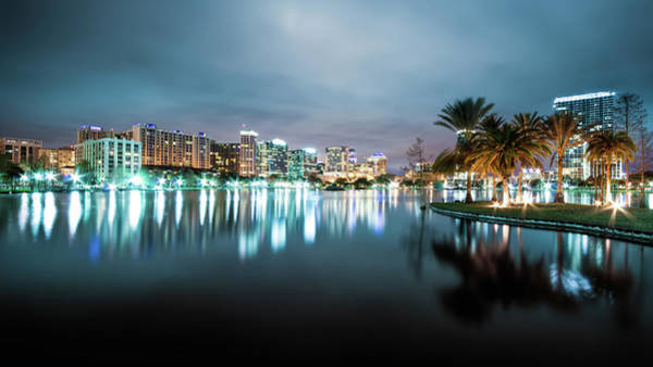 Night Photograph - Orlando Night Cityscape by Sky Noir Photography By Bill Dickinson