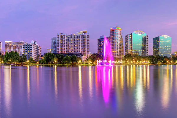 Photograph - Orlando Skyline And Lake Eola Fountain At Dusk by Gregory Ballos