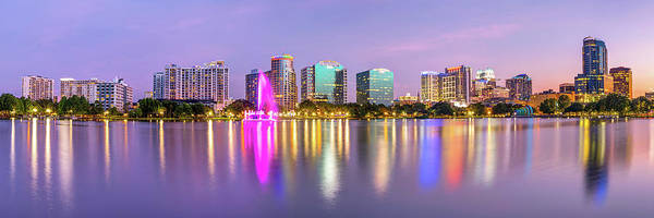 Photograph - Orlando Skyline - Lake Eola Sunset Panorama by Gregory Ballos