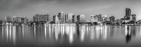 Wall Art - Photograph - Orlando Skyline - Lake Eola Sunset Panorama In Monochrome by Gregory Ballos