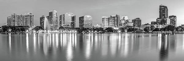 Photograph - Orlando Skyline Panoramic From Lake Eola Park - Monochrome by Gregory Ballos