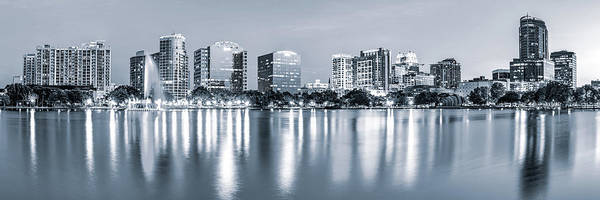 Photograph - Orlando Skyline Panoramic From Lake Eola Park - Silver Monochrome by Gregory Ballos