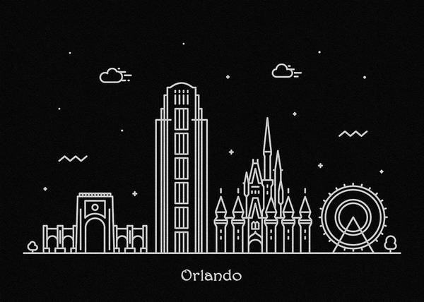 Wall Art - Digital Art - Orlando Skyline Travel Poster by Inspirowl Design