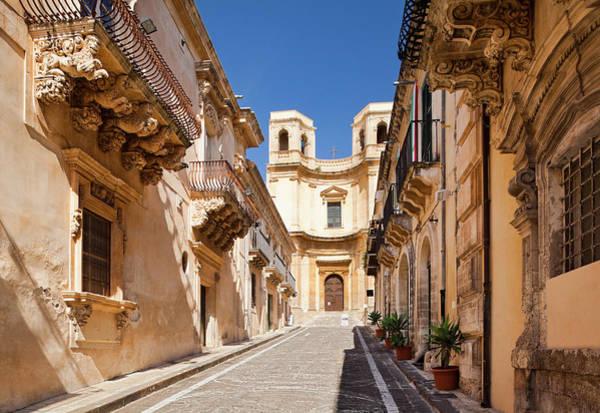 Sicily Photograph - Ornate Balconies In Via Corrado Nicolaci by Jorg Greuel