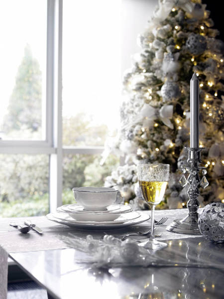 Setting Photograph - Ornate Table Settings In Dining Room by Jazzirt