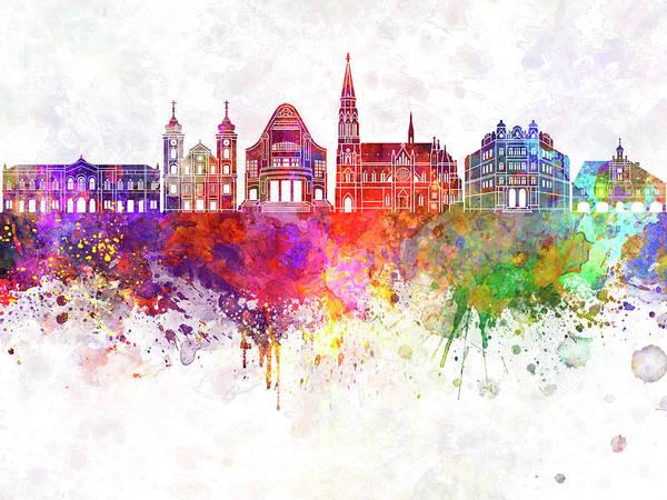 Wall Art - Painting - Osijek Skyline In Watercolor Splatters by Pablo Romero