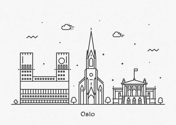 Wall Art - Drawing - Oslo Cityscape Travel Poster by Inspirowl Design