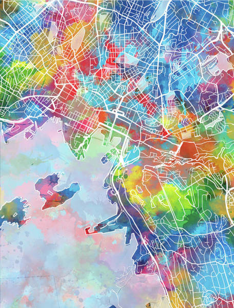 Europe Map Digital Art - Oslo Map Watercolor by Bekim Art