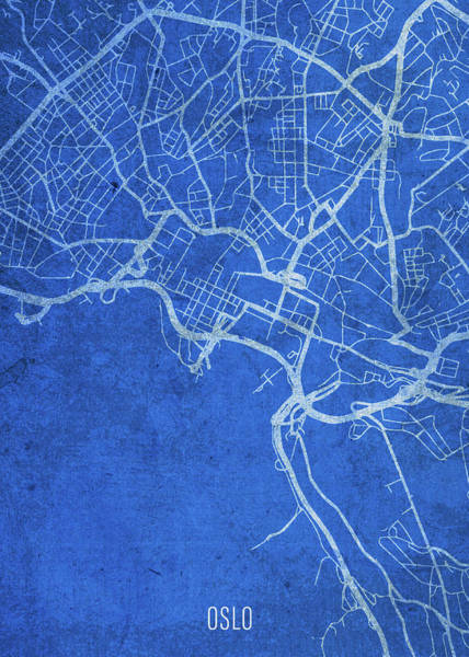 Wall Art - Mixed Media - Oslo Norway City Street Map Blueprints by Design Turnpike