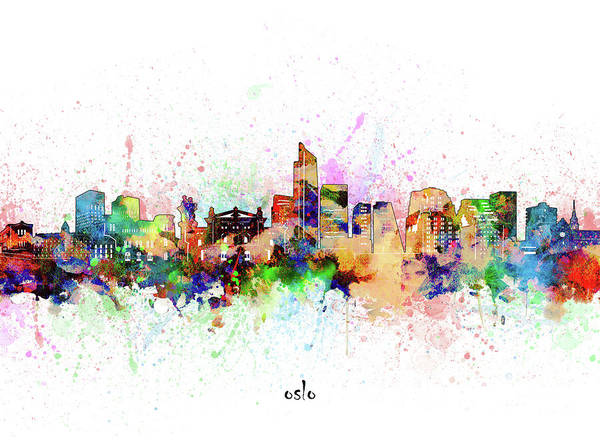 Wall Art - Digital Art - Oslo Skyline Artistic by Bekim M