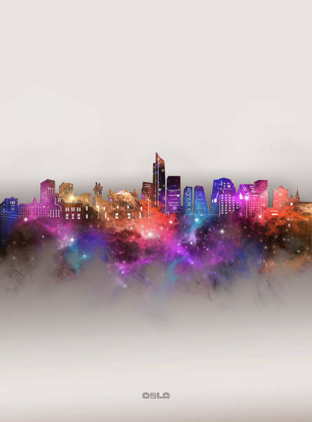 Wall Art - Digital Art - Oslo Skyline Galaxy by Bekim M