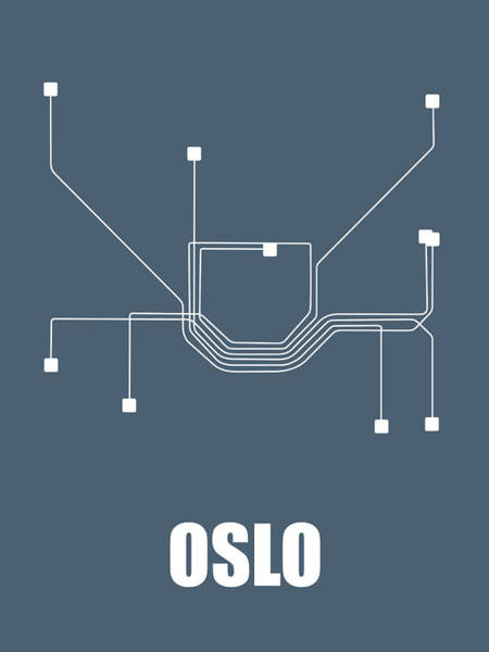 Wall Art - Digital Art - Oslo Subway Map by Naxart Studio