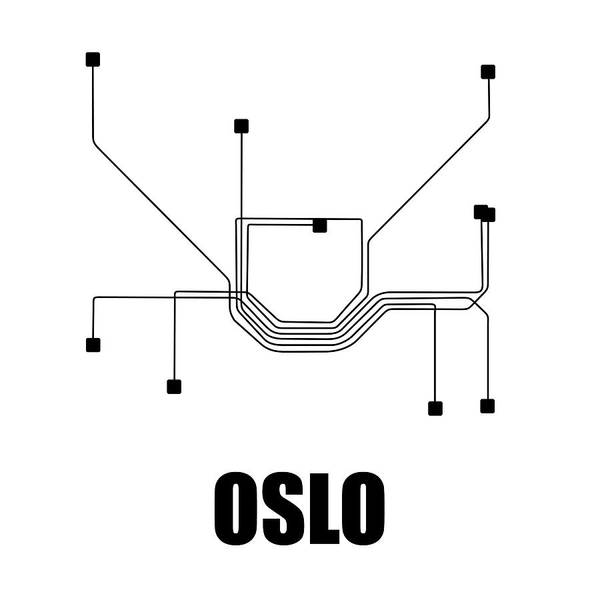Wall Art - Digital Art - Oslo White Subway Map by Naxart Studio