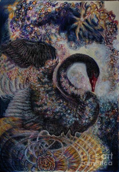 Wall Art - Drawing - Cosmic Swan 2 by Helen Duley