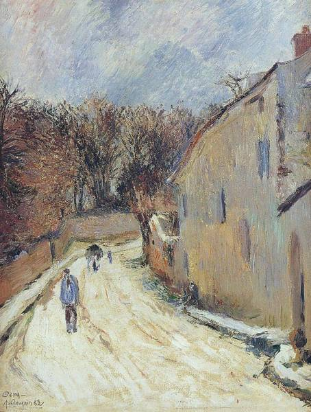 Wall Art - Painting - Osny The Street Of Pontoise Winter 1883 by Paul Gauguin