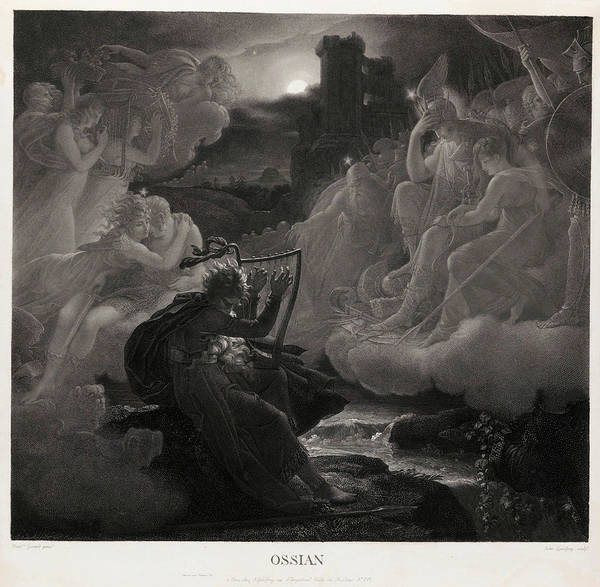 Wall Art - Painting - Ossian Awakening The Spirits On The Banks Of The Lora With The Sound Of His Harp, 1801 by Jean Godefroy