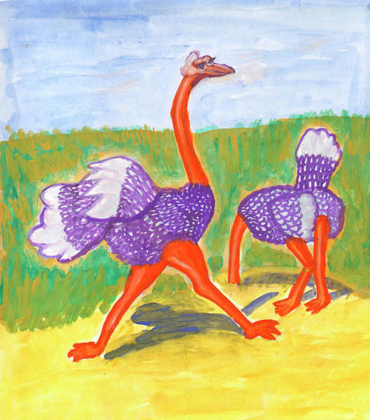 Painting - Funny Ostriches by Irina Dobrotsvet