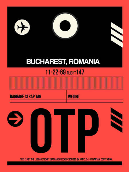 Wall Art - Digital Art - Otp Bucharest Luggage Tag I by Naxart Studio
