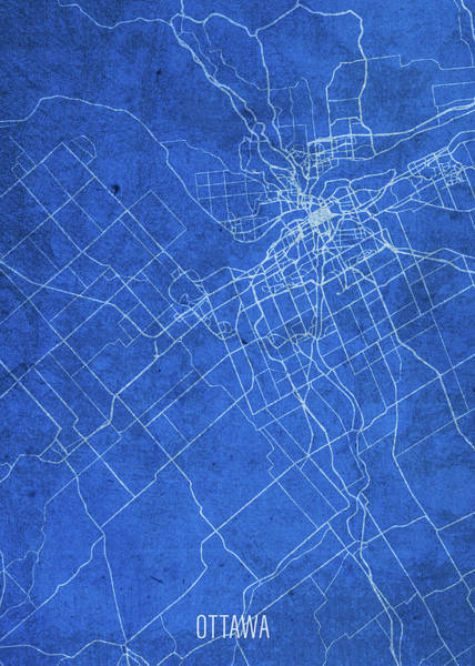 Wall Art - Mixed Media - Ottawa Canada City Street Map Blueprints by Design Turnpike
