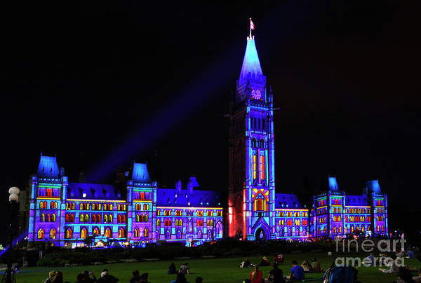 Wall Art - Photograph - Ottawa Canada  Light Show On Parliament Hill by Maria Janicki