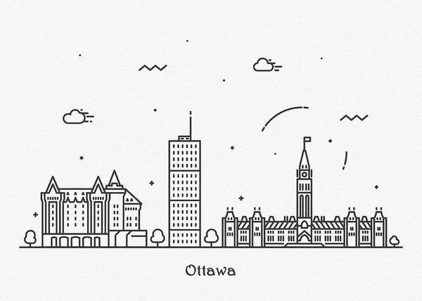 Wall Art - Drawing - Ottawa Cityscape Travel Poster by Inspirowl Design