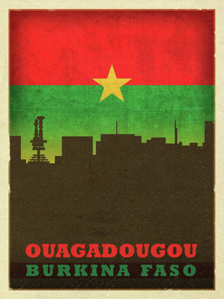 Wall Art - Mixed Media - Ouagadougou Burkina Faso City Skyline Flag by Design Turnpike