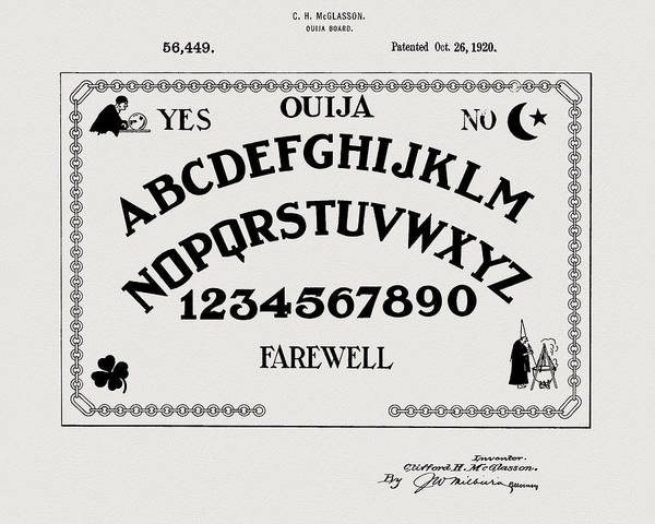 Drawing - Ouija Board Patent by Dan Sproul