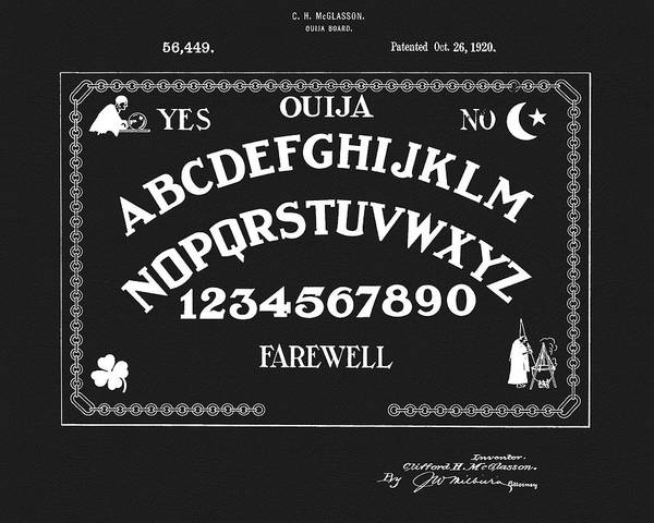 Drawing - Ouija Patent On Black by Dan Sproul