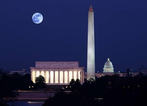 Washington D.c Painting - Our Treasured Washington Monuments At Night. Original Image From Carol M. Highsmith V2 by Celestial Images