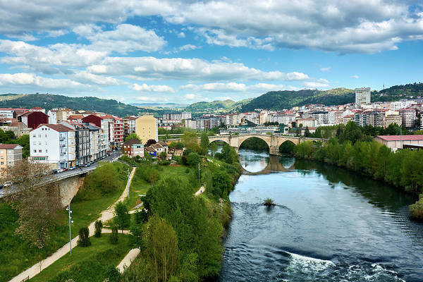 Photograph - Ourense And The Roman Bridge From The Millennium Bridge by Fine Art Photography Prints By Eduardo Accorinti