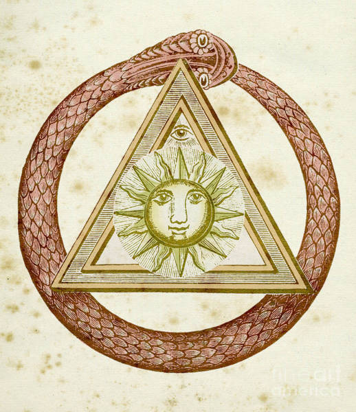 Wall Art - Drawing - Ouroboros, Delta, And The Divine Eye With The Sun, From The Kneph by English School