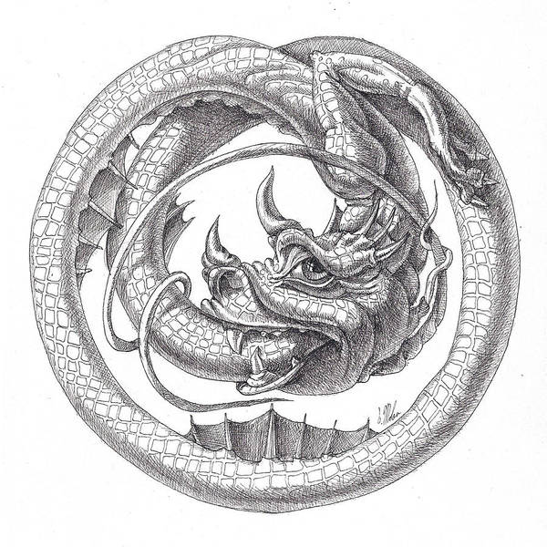 Drawing - Ouroboros by Victor Molev