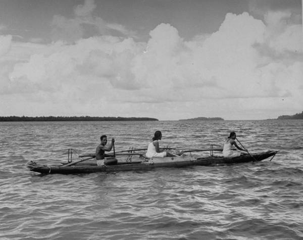 Canoe Photograph - Out Rigger Canoe Off Pouape by Eliot Elisofon