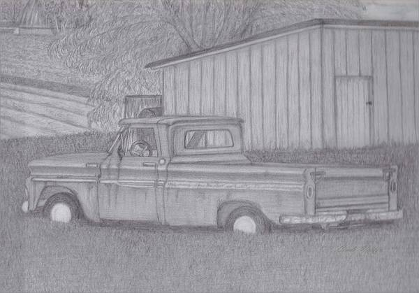 Old Chevy Truck Drawing - Out To Pasture by Cindi Norton