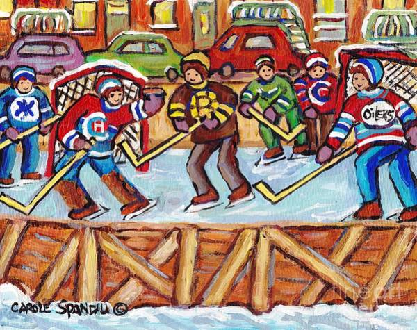 Painting - Outdoor Hockey Rink Verdun Row Houses Staircase Winter City Scene C Spandau Goalie Makes The Save    by Carole Spandau
