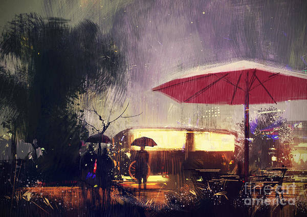 Wall Art - Digital Art - Outdoor Shop In The Park At Rainy by Tithi Luadthong