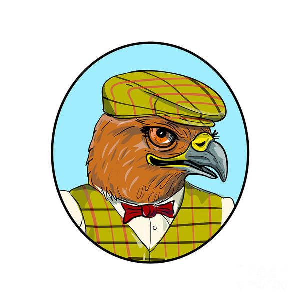 Sportsman Digital Art - Outdoorsman Hawk Head Drawing by Aloysius Patrimonio