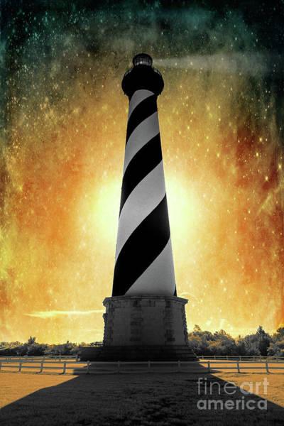 Wall Art - Digital Art - Outer Banks Lighthouse On A Starry Night by Dan Carmichael