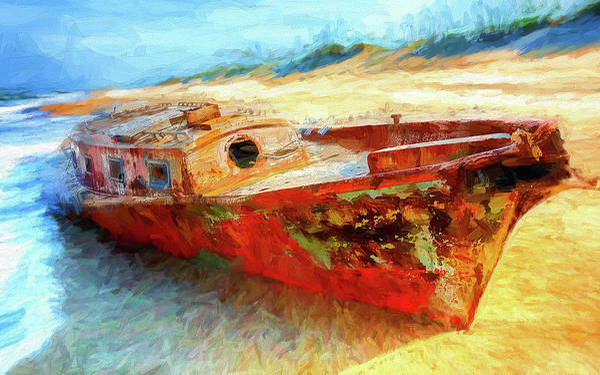 Shipwreck Digital Art - Outer Banks Shipwreck Ap by Dan Carmichael