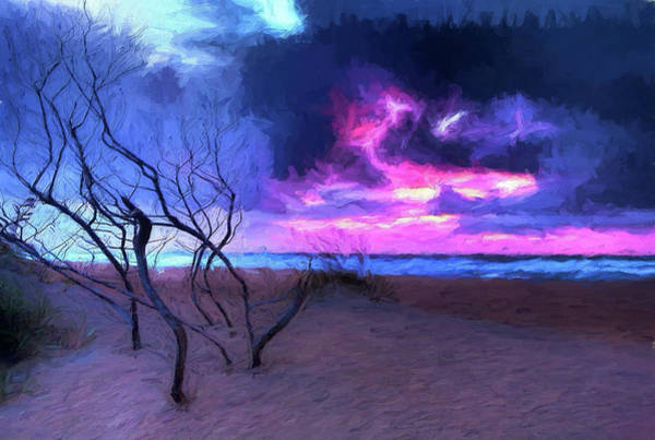 Wall Art - Painting - Outer Banks Standing Driftwood At Sunrise Ap by Dan Carmichael