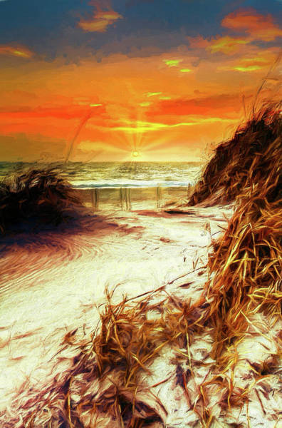 Wall Art - Painting - Outer Banks Sunrise Over The Sand Dunes Ap by Dan Carmichael