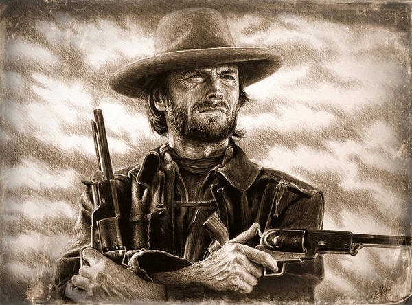 Wall Art - Drawing - Outlaw Josey Wales Sepia by Andrew Read