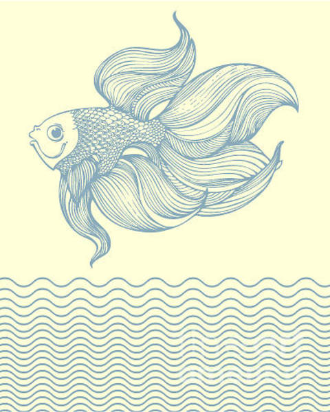 Freshwater Wall Art - Digital Art - Outline Gold Fish by Laquarelle