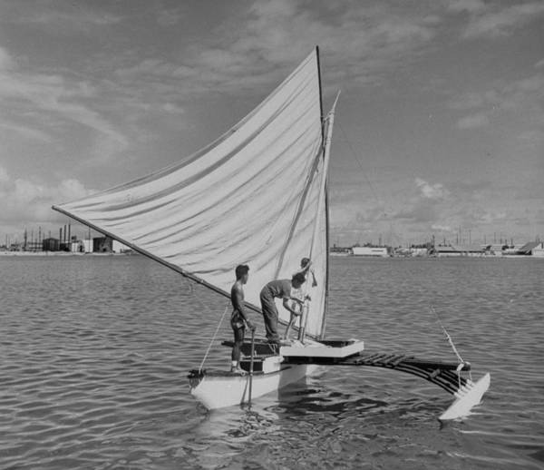 Canoe Photograph - Outrigger Canoe Belonging To Kwajalein by Eliot Elisofon