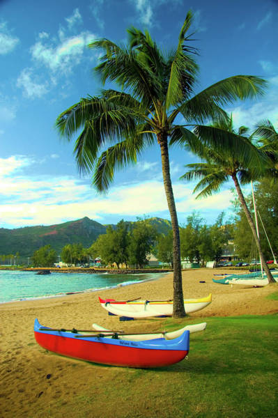 Outrigger Canoe Photograph - Outrigger Canoes At Beach by David Smith