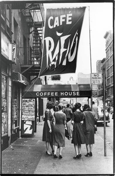 Photograph - Outside The Cafe Rafio by Fred W. McDarrah