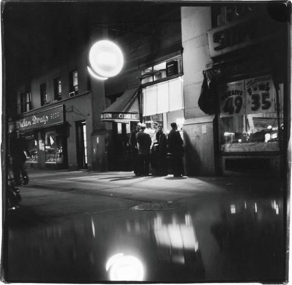 Talking Photograph - Outside The Cedar Street Tavern by Fred W. McDarrah
