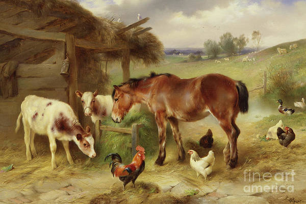 Wall Art - Painting - Outside The Stable by Walter Hunt