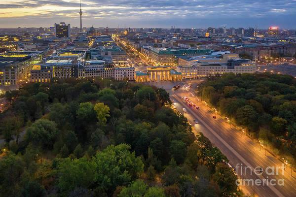 Sony Center Photograph - Over Berlin Tiergarten And Brandenburg Gate by Mike Reid