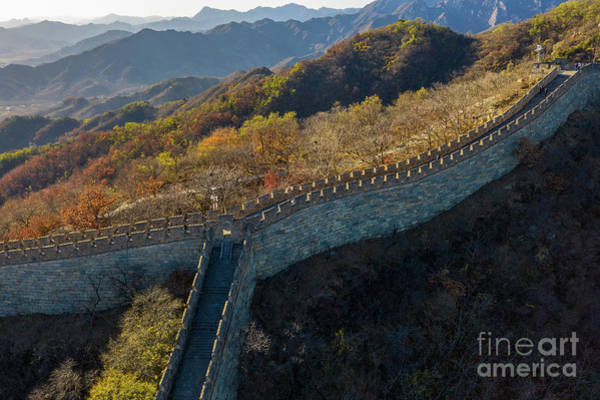Wall Art - Photograph - Over China Mutianyu Great Wall Fall Colors by Mike Reid